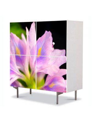 Comoda cu 4 Usi Art Work Flori Petale Violet deschis, 84 x 84 cm