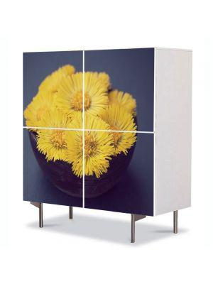 Comoda cu 4 Usi Art Work Flori Floricele galbui, 84 x 84 cm