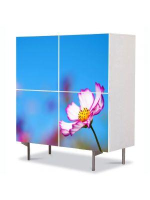 Comoda cu 4 Usi Art Work Flori Floricica singuratica, 84 x 84 cm