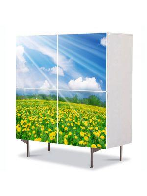 Comoda cu 4 Usi Art Work Flori Camp de papadii, 84 x 84 cm