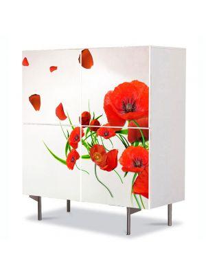 Comoda cu 4 Usi Art Work Flori Maci in vant, 84 x 84 cm
