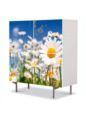 Comoda cu 4 Usi Art Work Flori Musetel, 84 x 84 cm