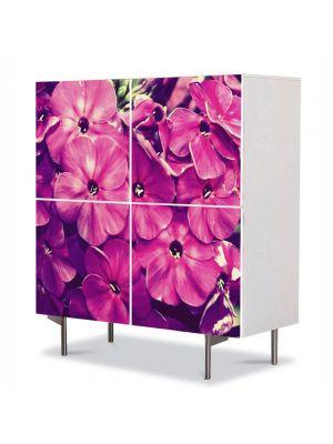 Comoda cu 4 Usi Art Work Flori Fior violet, 84 x 84 cm