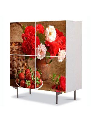 Comoda cu 4 Usi Art Work Flori Aranjament cu flori, 84 x 84 cm