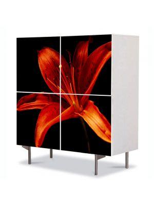 Comoda cu 4 Usi Art Work Flori Floare pe fundal negru, 84 x 84 cm