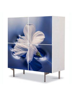 Comoda cu 4 Usi Art Work Flori Floare plutind pe apa, 84 x 84 cm
