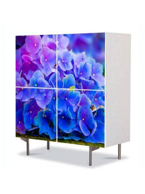 Comoda cu 4 Usi Art Work Flori Floricele albastre, 84 x 84 cm