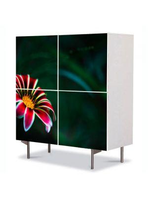 Comoda cu 4 Usi Art Work Flori Floare cu petale rosii, 84 x 84 cm