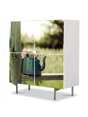 Comoda cu 4 Usi Art Work Flori Flori in ibric, 84 x 84 cm