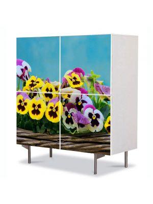 Comoda cu 4 Usi Art Work Flori Flori in cos, 84 x 84 cm