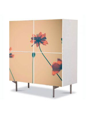 Comoda cu 4 Usi Art Work Flori Maci artistici, 84 x 84 cm