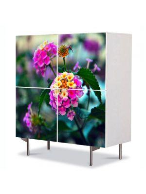 Comoda cu 4 Usi Art Work Flori Flori in gradina, 84 x 84 cm