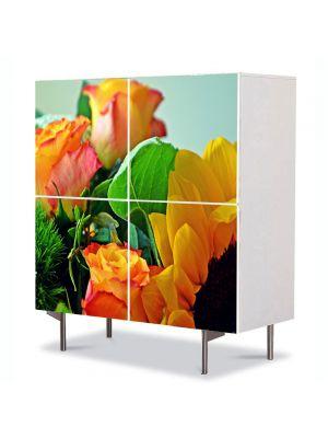 Comoda cu 4 Usi Art Work Flori Aranjament floral special, 84 x 84 cm