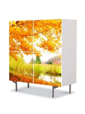 Comoda cu 4 Usi Art Work Peisaje Copac pe malul lacului, 84 x 84 cm