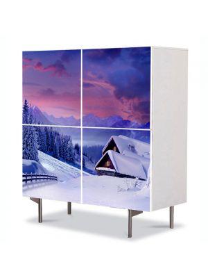 Comoda cu 4 Usi Art Work Peisaje Cabana sub zapada, 84 x 84 cm