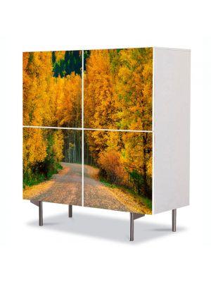 Comoda cu 4 Usi Art Work Peisaje Toamna pe drum, 84 x 84 cm