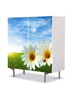 Comoda cu 4 Usi Art Work Peisaje Doua Flori, 84 x 84 cm