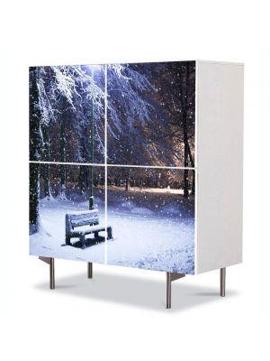 Comoda cu 4 Usi Art Work Peisaje Banca cu zapada, 84 x 84 cm