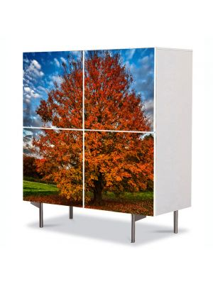 Comoda cu 4 Usi Art Work Peisaje Nori in viteza, 84 x 84 cm