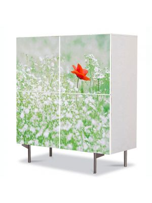 Comoda cu 4 Usi Art Work Peisaje Floare rosie, 84 x 84 cm