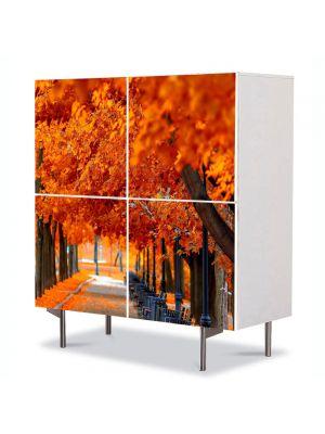 Comoda cu 4 Usi Art Work Peisaje Parc boem, 84 x 84 cm