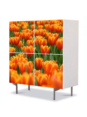 Comoda cu 4 Usi Art Work Peisaje Mare de lalele portocalii, 84 x 84 cm