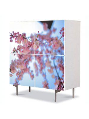 Comoda cu 4 Usi Art Work Peisaje Crenguta roz, 84 x 84 cm