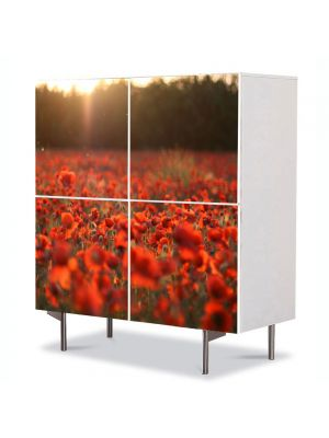 Comoda cu 4 Usi Art Work Peisaje Camp de maci, 84 x 84 cm