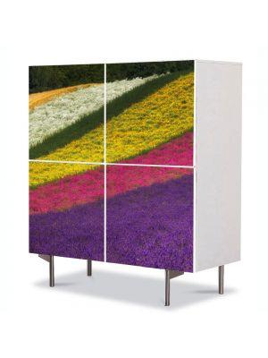 Comoda cu 4 Usi Art Work Peisaje Lanuri colorate, 84 x 84 cm