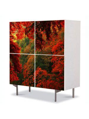 Comoda cu 4 Usi Art Work Peisaje Rosu, 84 x 84 cm
