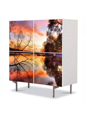 Comoda cu 4 Usi Art Work Peisaje Toamna pe lac, 84 x 84 cm