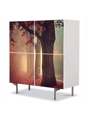 Comoda cu 4 Usi Art Work Peisaje Ceata in padure, 84 x 84 cm