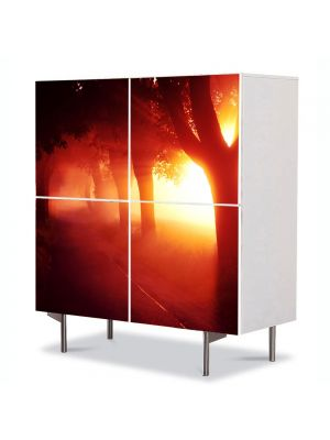 Comoda cu 4 Usi Art Work Peisaje Lumina fantastica, 84 x 84 cm