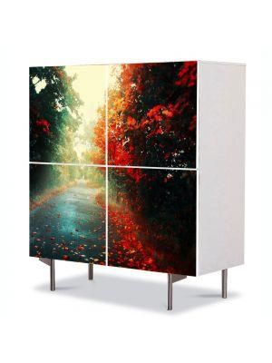 Comoda cu 4 Usi Art Work Peisaje Sosea dupa ploaie, 84 x 84 cm