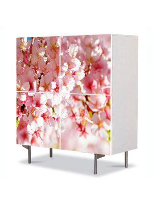 Comoda cu 4 Usi Art Work Peisaje Flori de gutui, 84 x 84 cm