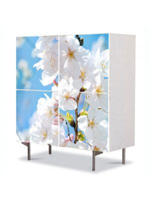 Comoda cu 4 Usi Art Work Peisaje Floare cu nuante Alb-albaste , 84 x 84 cm