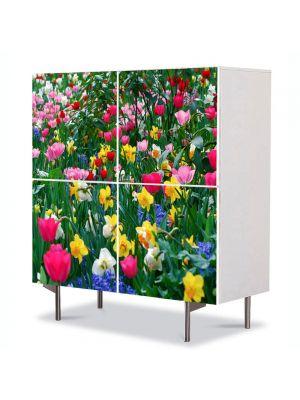 Comoda cu 4 Usi Art Work Peisaje Flori inghesuite, 84 x 84 cm