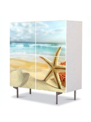 Comoda cu 4 Usi Art Work Peisaje Scoici pe plaja, 84 x 84 cm