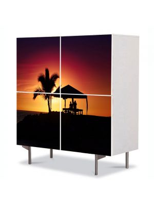 Comoda cu 4 Usi Art Work Peisaje Palmier la apus, 84 x 84 cm