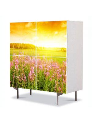 Comoda cu 4 Usi Art Work Peisaje Lumina de apus, 84 x 84 cm