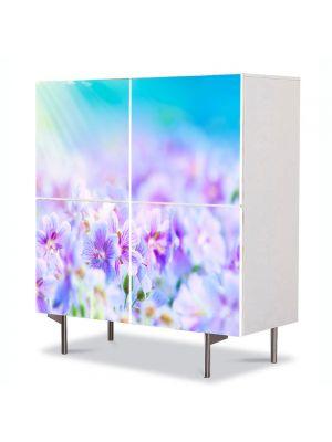 Comoda cu 4 Usi Art Work Peisaje Flori violet, 84 x 84 cm