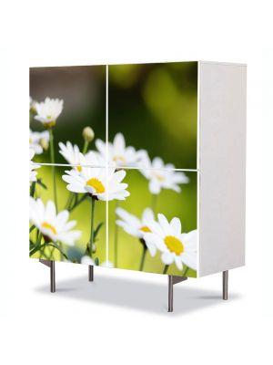 Comoda cu 4 Usi Art Work Peisaje Flori de musetel, 84 x 84 cm