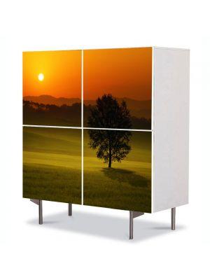 Comoda cu 4 Usi Art Work Peisaje Privind apusul, 84 x 84 cm