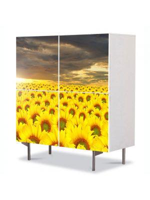 Comoda cu 4 Usi Art Work Peisaje Lan de floarea soarelui, 84 x 84 cm