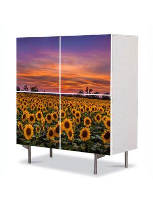 Comoda cu 4 Usi Art Work Peisaje Floarea soarelui la apus, 84 x 84 cm