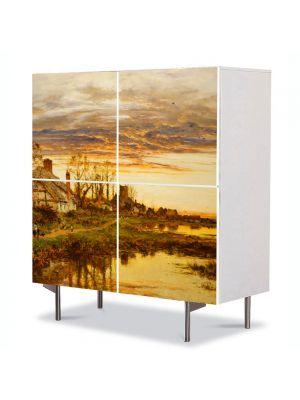Comoda cu 4 Usi Art Work Peisaje Coliba, 84 x 84 cm