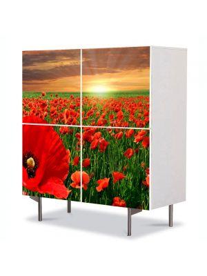 Comoda cu 4 Usi Art Work Peisaje Maci la apus, 84 x 84 cm
