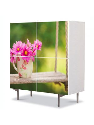 Comoda cu 4 Usi Art Work Peisaje Flori in leagan, 84 x 84 cm