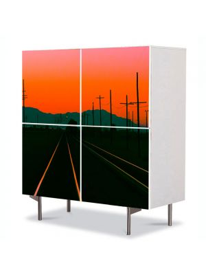 Comoda cu 4 Usi Art Work Peisaje Cale ferata la apus, 84 x 84 cm