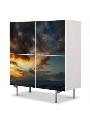 Comoda cu 4 Usi Art Work Peisaje Lupta norilor, 84 x 84 cm